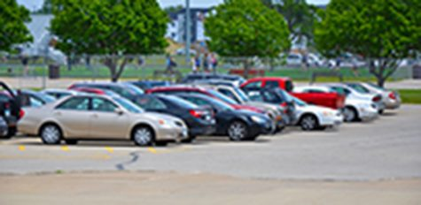 The parking lot after the administration began ticketing.