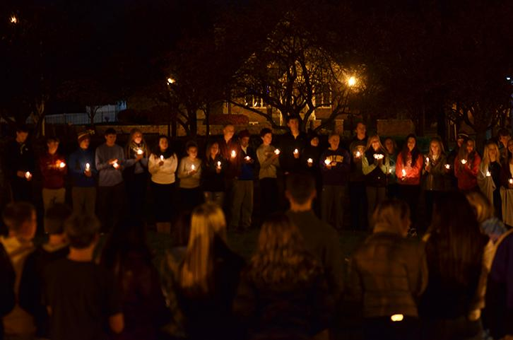 A+large+group+of+students+gather+in+memory+of+sophomore+TJ+Sandstoe%2C+who+passed+away+in+Sept.+