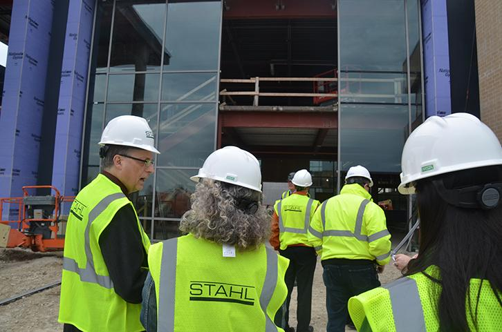Entering the entrance of the new high school the tour group was explained the rules before being allowed in. The new high school will be open the start of the 2017-2018 school year.