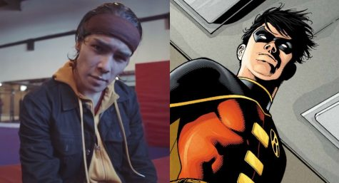 (Left) Ryan Potter at the end of the video featuring himself as Robin.