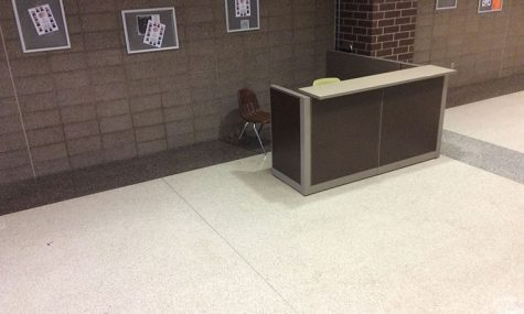 A desk for the campus monitor sits empty in the commons. Administration hopes to have the position filled no later then second semester.