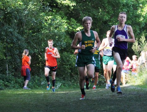 Riley Chartier '17 works to quicken his pace. Cross Country had a meet Oct. 13 at Marshalltown Community College.