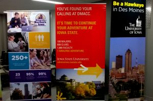 Posters hang at DMACC for college transfer students. Transfer students make up about 40 percent of student populations in the three state universities.