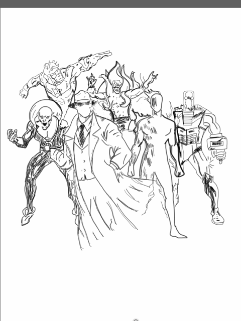 From left to right  Deadman, Question, Human Torch, Rom, Booster Gold, Creeper