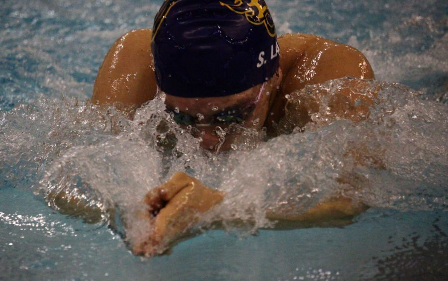 Scott+Lair+wins+the+100y+breast+stroke.+Johnston+lost+to+Dowling+Catholic.