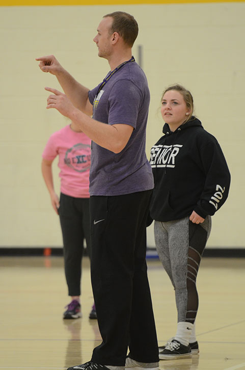 Dan Mennen teaches a Track 2 P.E. class. Along with coaching and teaching at JHS, Mennen also teaches P.E. at the Johnston-based Youth Home's Of Mid America.
