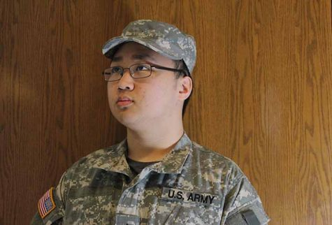 Alvin Chen '18 poses for a picture in his National Guard uniform. Chen is focusing on a business career with the military being a plan B.