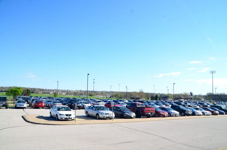 A+shot+of+the+parking+lot+during+3rd+period.+A+number+of+students+at+Johnston+High+School+park+in+the+lot+using+fake+parking+passes.+