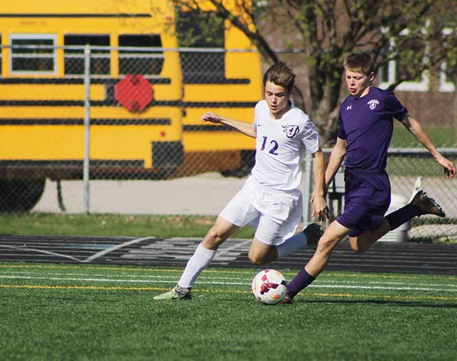 Jaden Jacobson '20 attempts to take control of the ball against a Neveda opponent. The team won against Neveda 8-0.