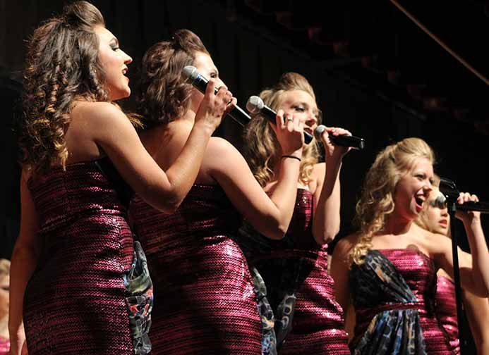 Girls from Innovation sing while walking across the stage to meet up in the middle as they begin the female song Sax. Innovation has received awards for best band, best choreography, best vocals, best male soloist (Tahj Neeley '18), best female soloist (Amanda McGowan '18) and best instrumentalist (Kyle Burgess '17).