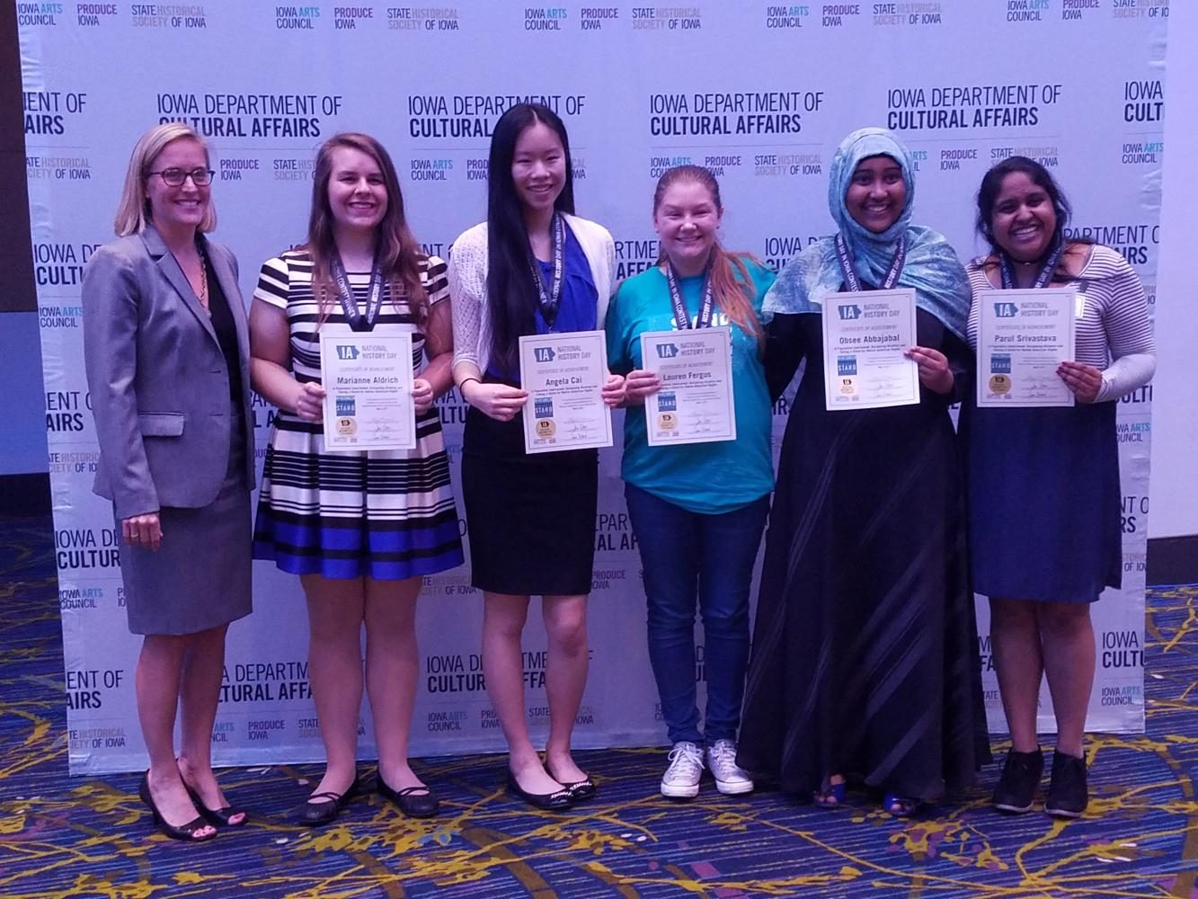 [left to right] Marianne Aldrich '19, Angela Cai '19, Lauren Fergus '19, Obsee Abbajabal '19 and Parul Srivastava '19 qualified for nationals.