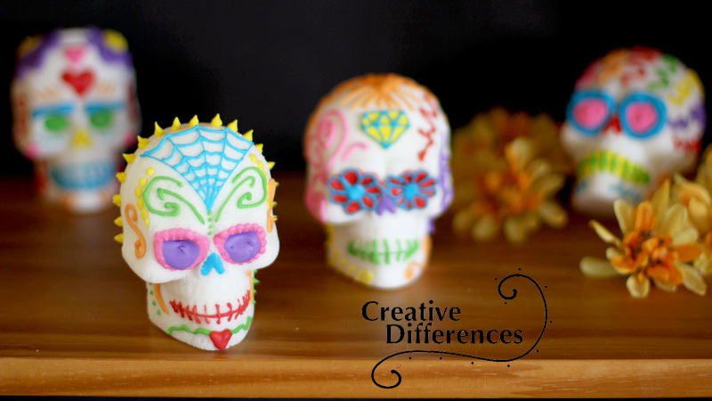 Shown here are some examples of how you can decorate your sugar skulls. Bright, vivid colors are commonly used as well as symbols like flowers, jewels, and spiderwebs.