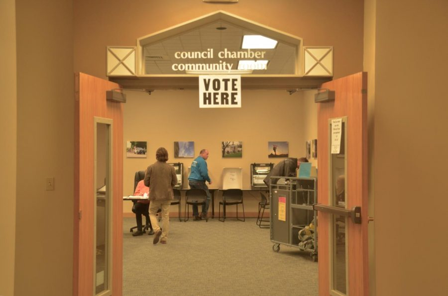 The polls take place in the council chamber community room, just a couple doors down from the main entrance.