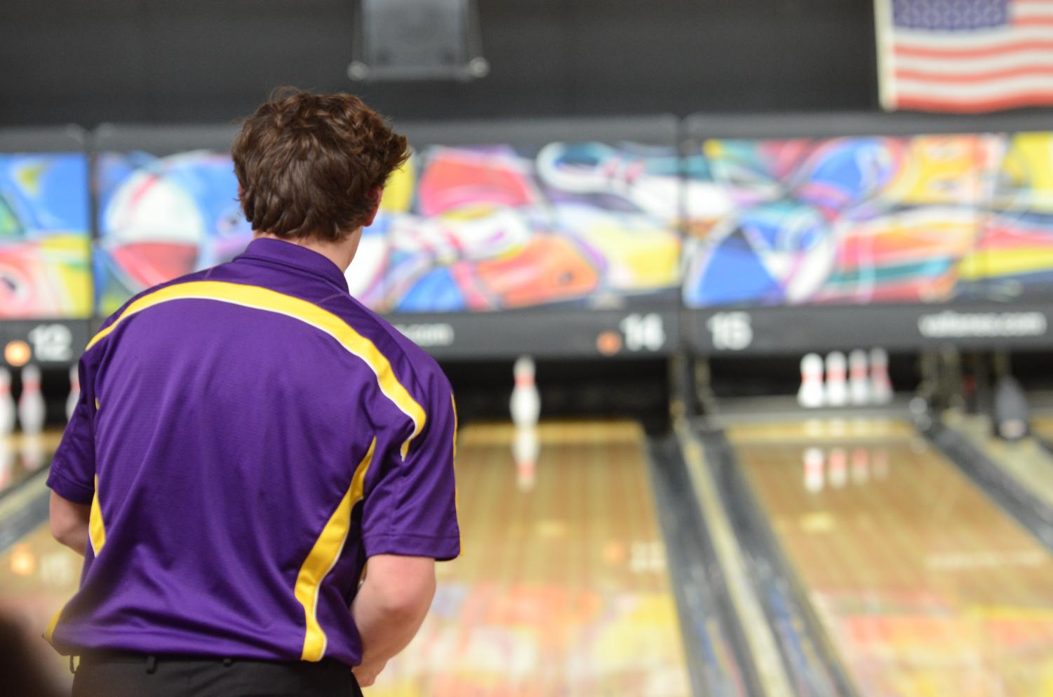 Aidan Cooley, '18 tosses down the ball for the 2nd throw. He was able to hit the final pin down, getting a spare.