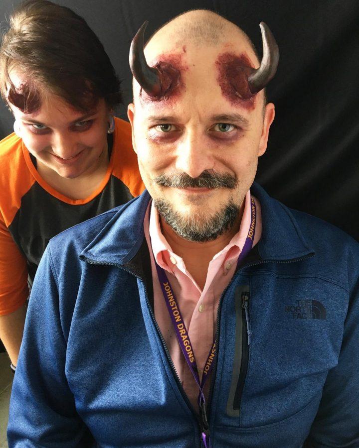English teacher Ed Walker sports demon horns