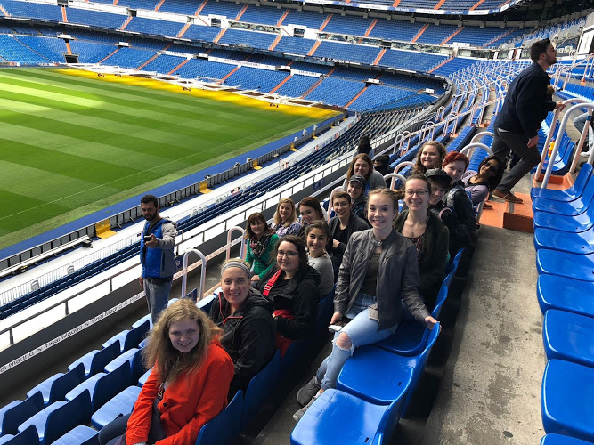 """Students visit the home stadium of Real Madrid, a professional fútbol club in Madrid Spain. """"It was as cool as I imagined because I've been to American football stadiums and the Real Madrid stadium blew them out of the water. It shows how much the country rallies around the sport of soccer,"""" Kiersten Bahr '19 said."""