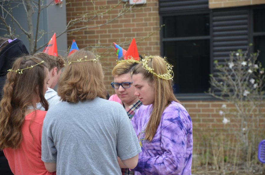 Biology students get with their sister chromosomes to trade 'alleles'. Students in Horsch's biology classes went through the different stages of meiosis on May 2.