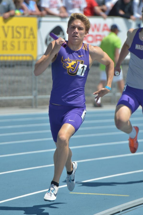 Grant Lair '18 runs the 4x800 at State. Lair won the individual 800m that day.