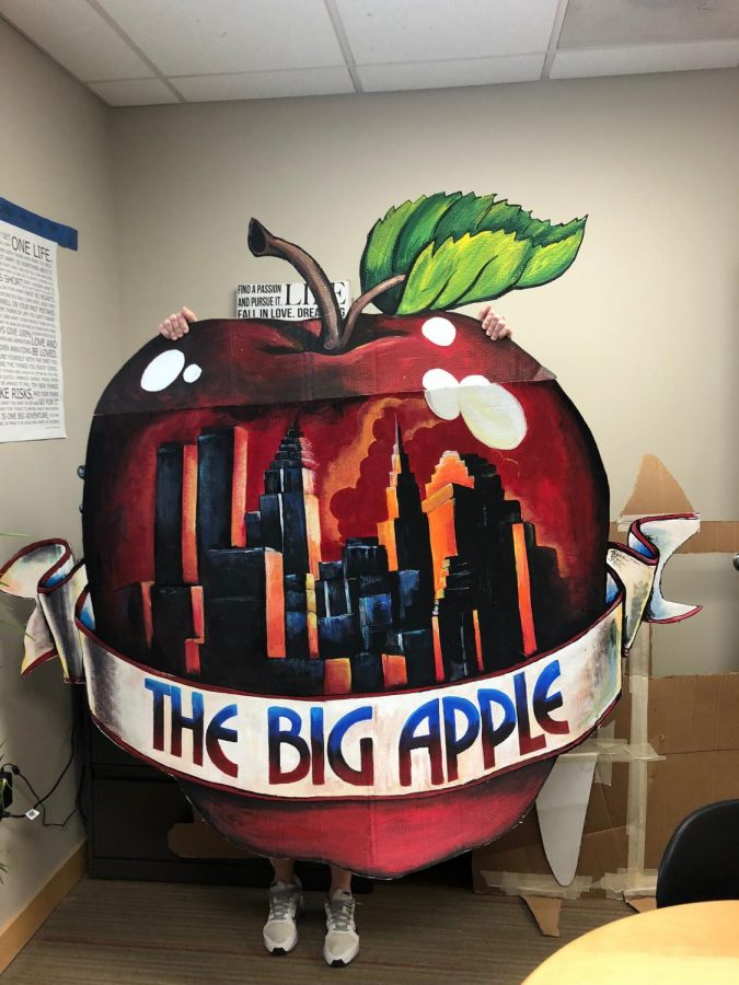 The big apple after prom prop before being delivered to the high school. Women at the Mitchelville Women's Correctional Facility painted the props.