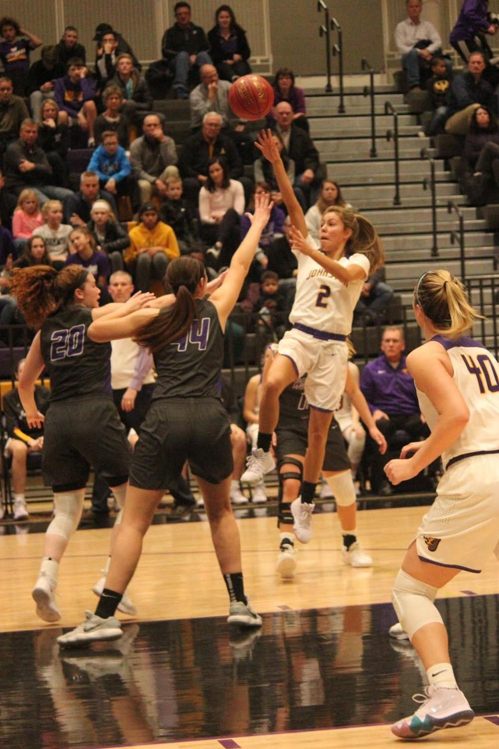 Maya McDermott '20 makes a jump shot for 2 points. McDermott scored 18 points against Waukee