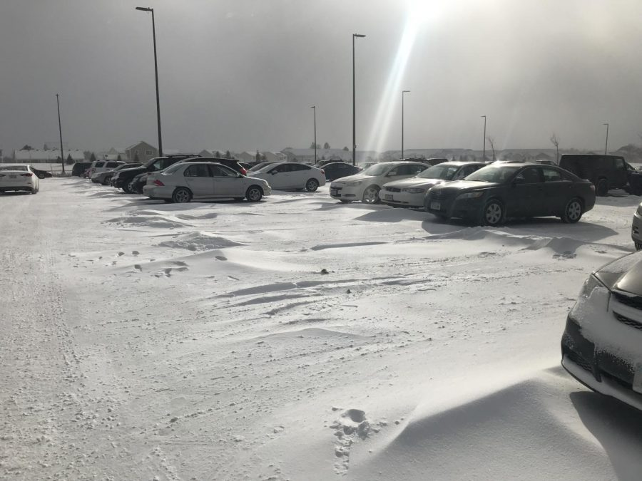 The+snow+covered+parking+lot+on+Feb.+7.