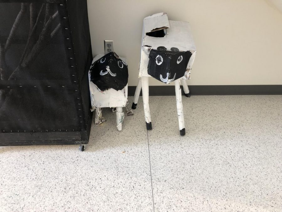 Mrs. Howe's students made paper mache sheep. They made them in biology class sometime in this past week.