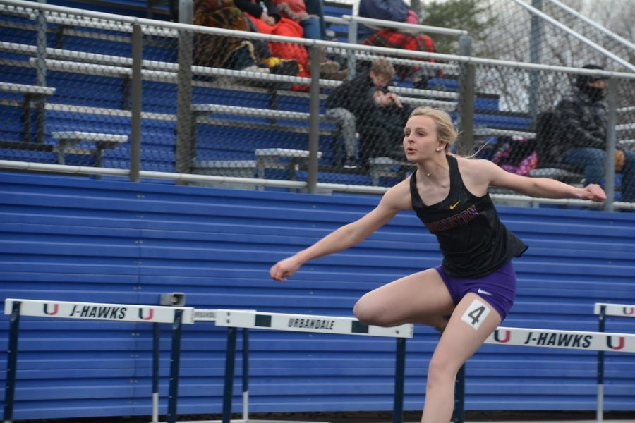 Leah+Johnson+%2720+the+varsity+shuttle+hurdle+relay.+The+shuttle+hurdle+relay+team+ran+a+1%3A10.01.+This+placed+them+third+overall.+
