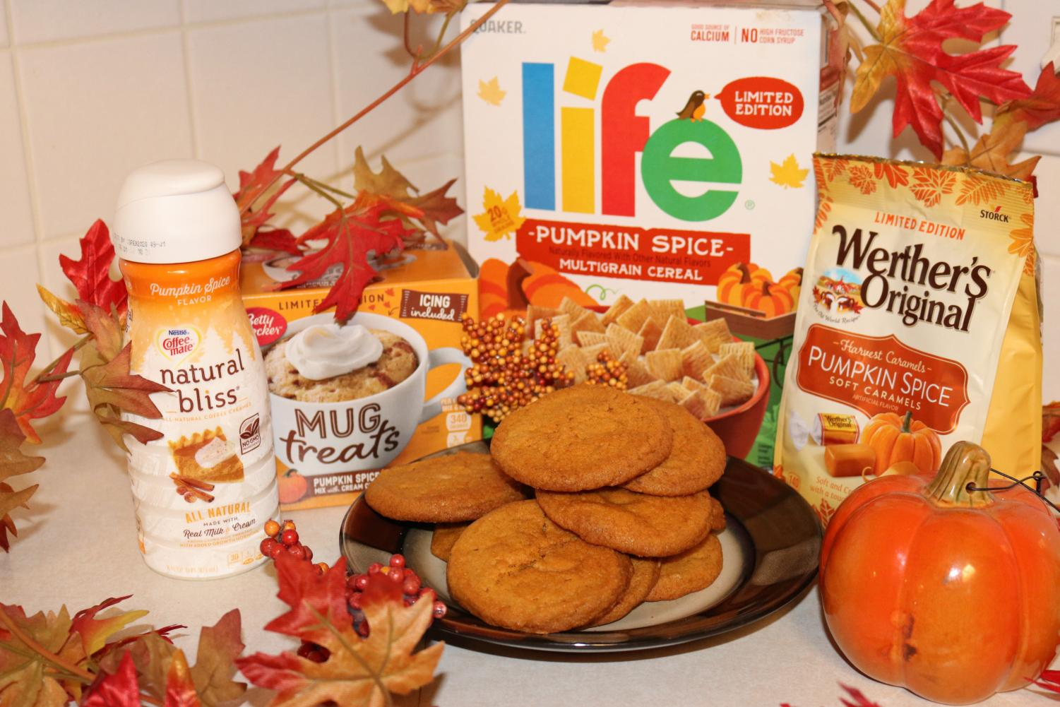 All of the pumpkin spice products that were tried, including a batch of freshly baked pumpkin cookies.