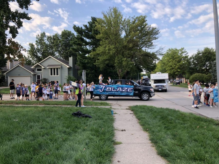 The swim teams truck getting ready for the parade. The homecoming parade was last Thursday.