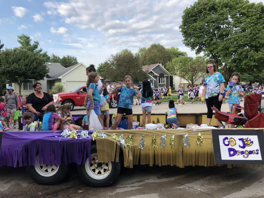 The float for the Girl Scouts. They had fun streamers and fun handmade signs.