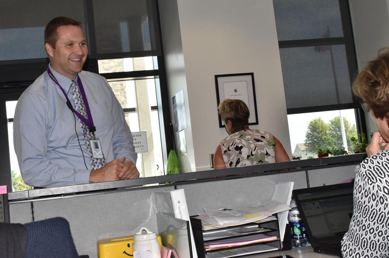 Nate Zittergruen enjoying a conversation before school.