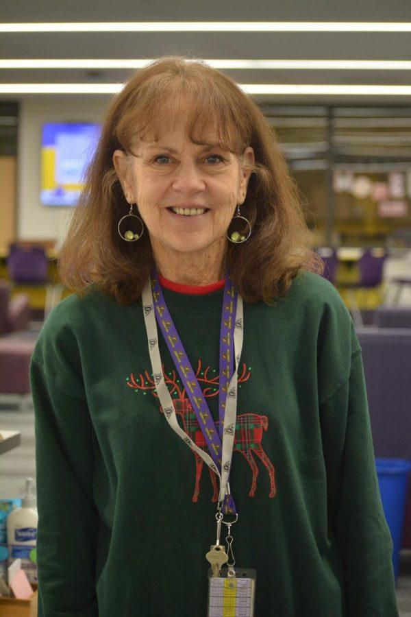 Sally corkin wearing her best Holiday attire