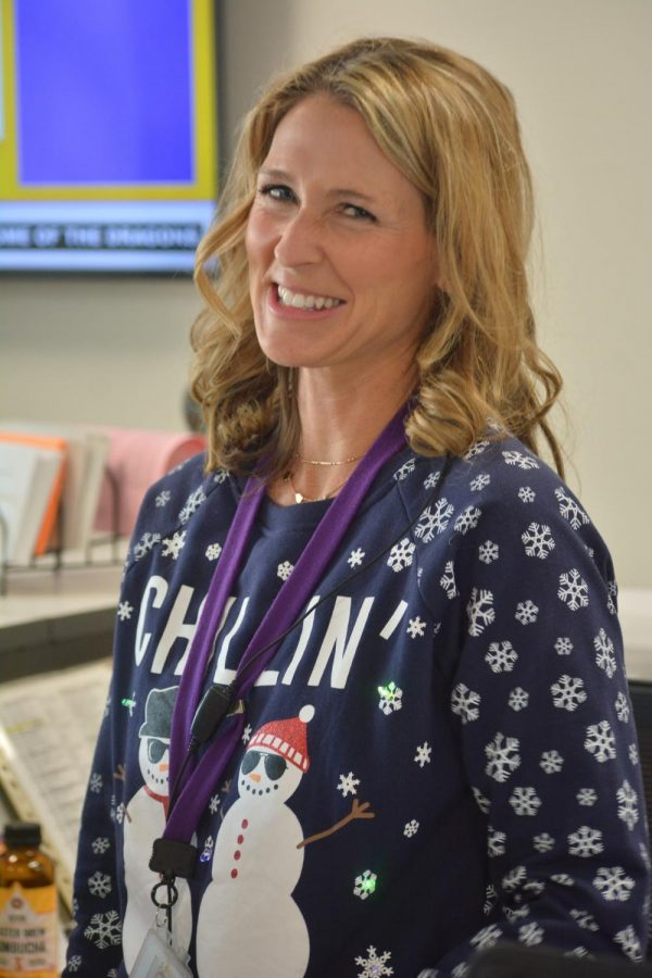 Melinda Johannsen chillin in her Holiday sweater