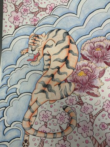 After studying the Irezumi style, Applegate attempted to design a tattoo. Using cherry blossoms, a tiger, peony flowers, and bright colors, she worked to design a tattoo that contained symbolism for a storyline.