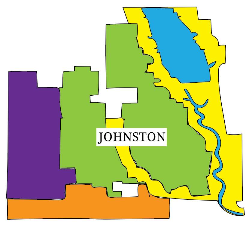 An+outline+of+the+city+of+Johnston.