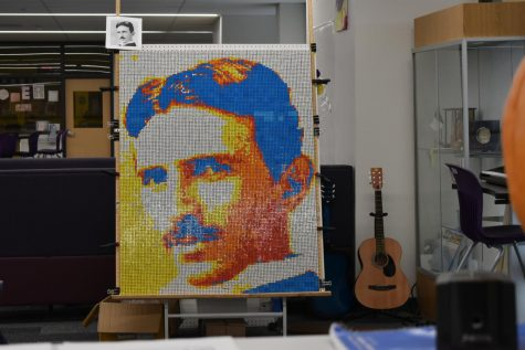 Austin Ledesma created his largest ever Rubik's cube mosaic of famous electrical engineer, Nikola Tesla.