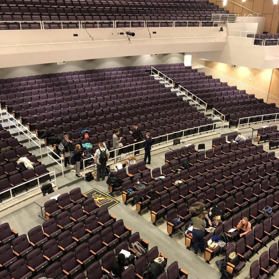 Competitors prepare and practice for rounds in the auditorium. Students arrived at the high school as early as 2:30 pm on Friday and were ushered into the auditorium until school was dismissed, allowing the competition to finally start.