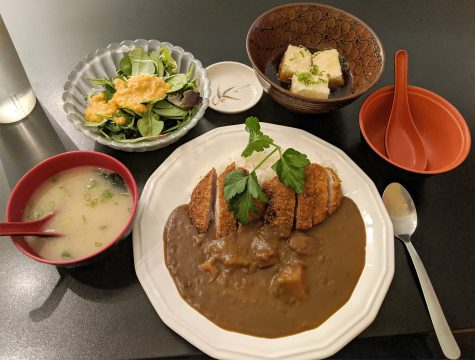 The first resturant Miyabi 9 had a delightful selection of food. The food ordered from left to right. Miso soup, Salad, Agedashi Tofu (tofu covered in a light breading), and Katsu Curry (A pork cutlet served with curry and rice)