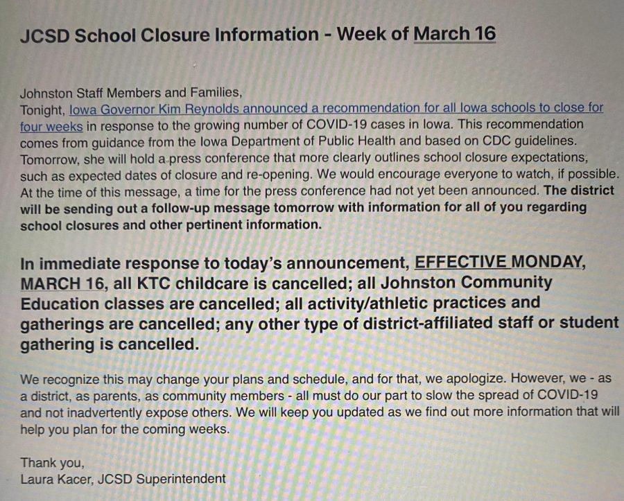 BREAKING: Update on School Activities for week of March 16