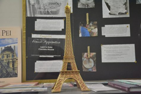 The French display in the hallway available for all students to view, that showcases French culture.
