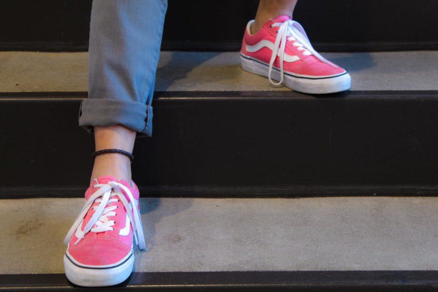 Fabiola Castaneda '21 with her pink statement vans.