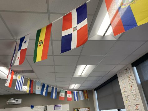 Flags of Spanish speaking countries are hung in one of the Spanish rooms.