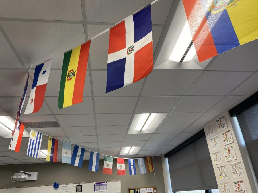 Flags+of+Spanish+speaking+countries+are+hung+in+one+of+the+Spanish+rooms.+