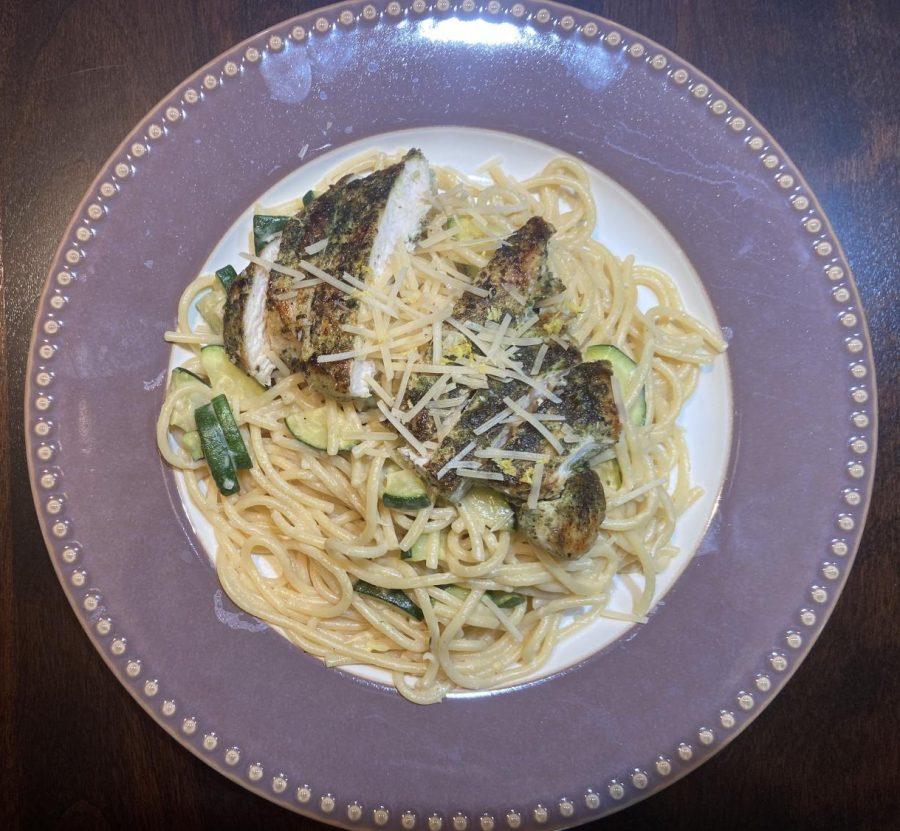 Margarita Chicken over Garlic Herb Spaghetti