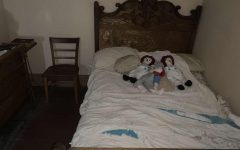 This is the parents bed and chair upstairs in the Ax Murder House. The parents were killed in this bed. The Ax Murder House is located in Villisca, Iowa.