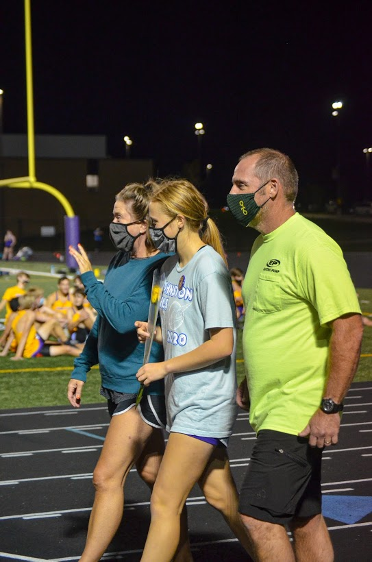 Mikayla Lies '21 walks for cross country senior night on Sep. 24.