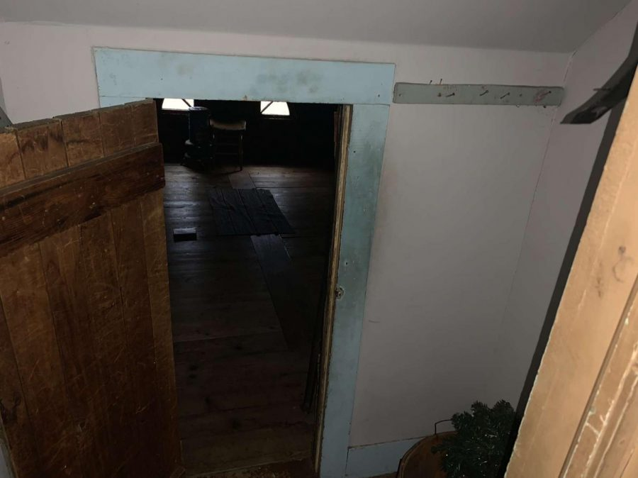 This is the closet leading to the attic in the Ax Murder House. This is where the killer hid while the family was out during the day. The Ax Murder House is located in Villisca, Iowa.