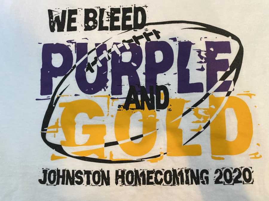 The 2020 shirt was different from the rest it has a white and has the words we bleed purple and gold written on it. With a football underneath the writing. Underneath the main design it says Johnston homecoming 2020. Which we have seen this design before in the 2018 shirt. Though this is my favorite design by far. It has a great color scheme and the colors on the shirt really pop. It also has some interesting patterns. The shirts have improved over the years but more school color should be represented in the shirts.