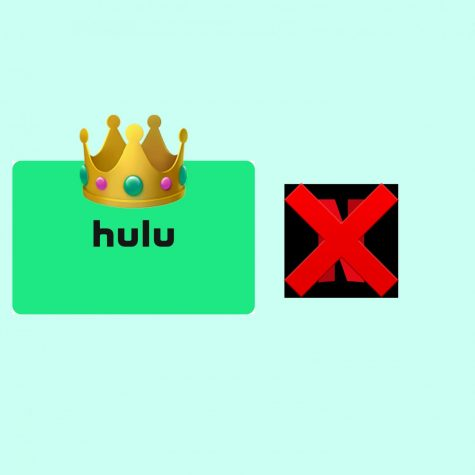 Hulu gets the crown while Netflix gets crossed out.
