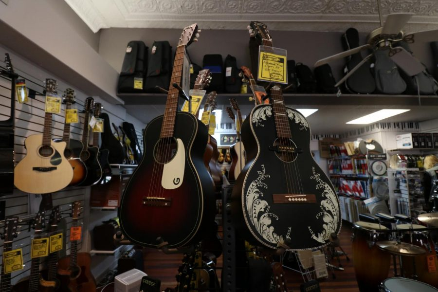 A view of the acoustic section that contains new and used acoustic guitars.